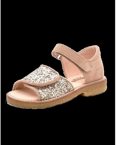Angulus Sandal Nude/Champagne Glitter