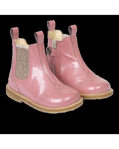 Begynder støvle m. elastik/lynlås Pink/Rosa Glitter