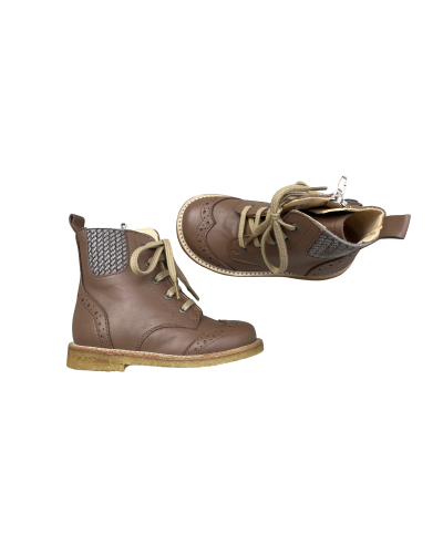 Snørestøvle med elastik og lynlås Mocha/Tern