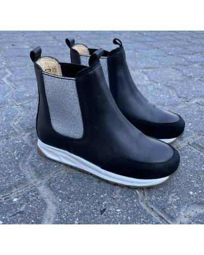 Støvlet Med Elastik Black/Silver