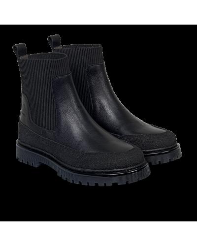Støvlet Med Elastik Og Track - sål Black