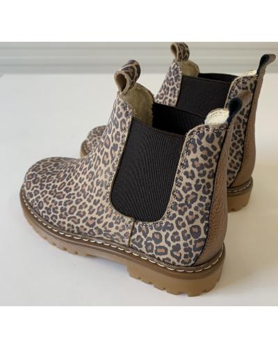 Støvlet med elastik og uldfoer Leopard/D. Gold