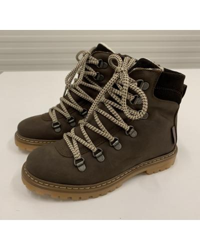 TEX-støvle Med Lynlås Og Snøre Dark Brown