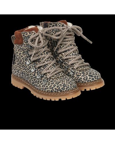 TEX-støvle Med Lynlås Og Snøre Leopard/Cognac