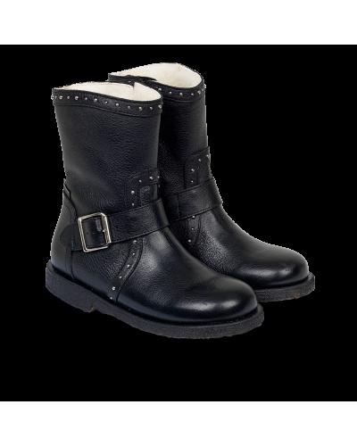 TEX-støvle Med Nitter Og Lynlås Black