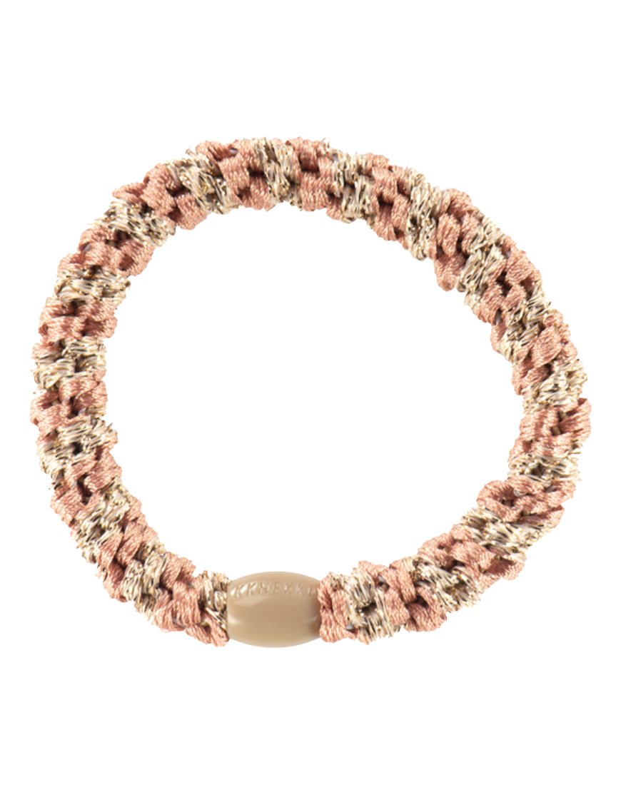 Hårelastik Peach/Coral/Beige Glitt