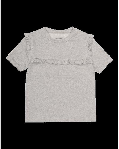 T-shirt m. Flæse Sølv/Glitter