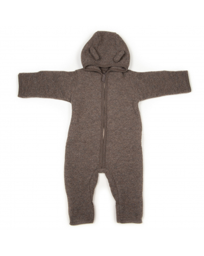 ALIE Babysuit Wool Fleece w/ears Marmor Brown