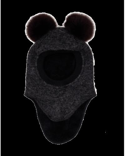 Huttelihut Elefanthue 2 Alpaca Pompoms Dark Grey