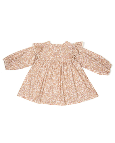 Laura Dress Baby Velvet Print Mustard