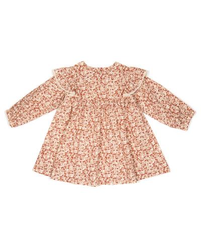 Laura Dress Poplin Print Rosewood