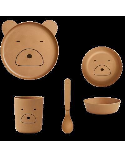 Bambus Spisesæt Mr. Bear Mustard