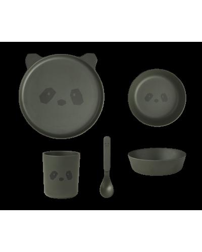 Bambus Spisesæt Panda Hunter Green