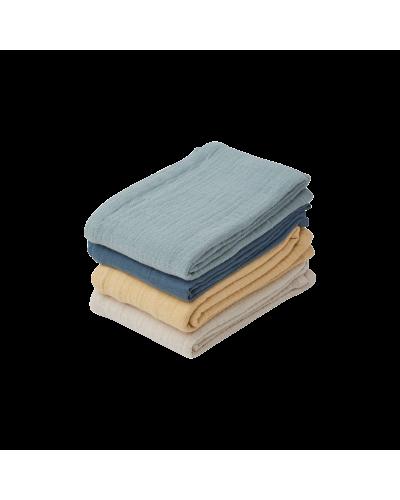 Leon Muslin Cloth - 4 pack  Blue mix