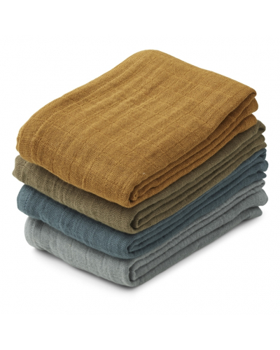 Leon Muslin Cloth 4 Pack Whale Blue Multi Mix