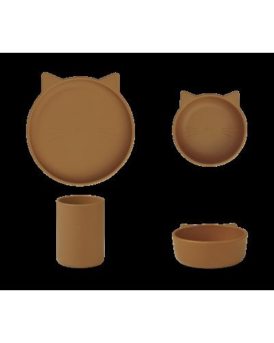 Silicone Junior Spisesæt Cyrus Cat Mustard