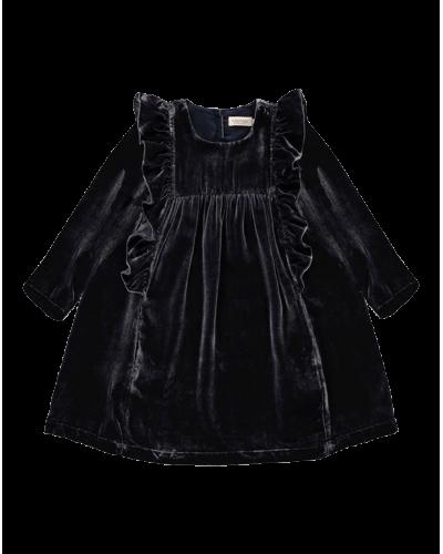 MarMar Dorville Velour Silke Kjole Dark Blue