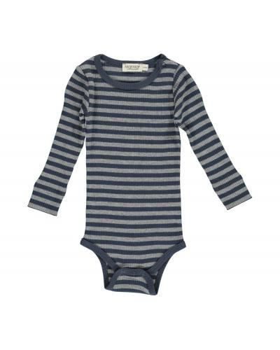 Plain Body LS Modal Stripes Blue/Grey Melange