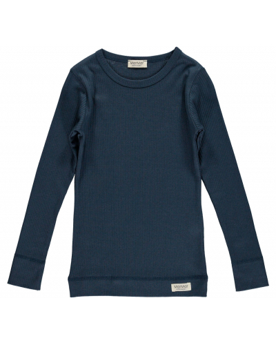 Plain T-shirt LS Modal Blue