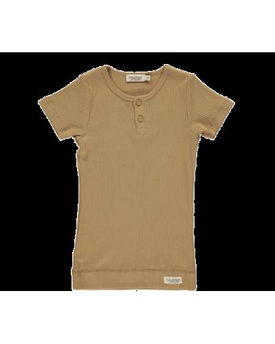 Rib T-shirt caramel