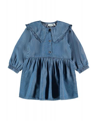 Asanne LS Collar Kjole Medium Blue Denim