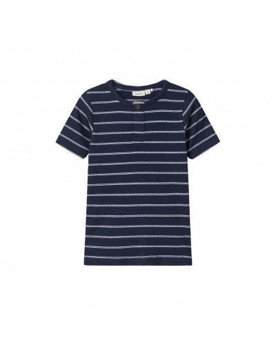 T-shirt rib navy stribet