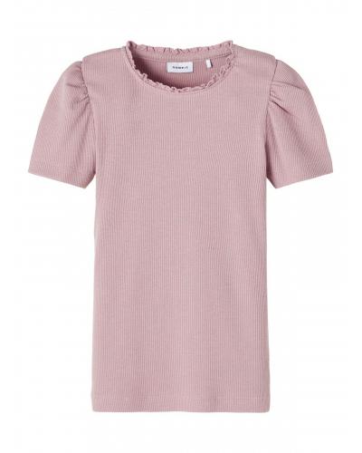 Ribstrikket Slimfit T-shirt Pink / Deauville Mauve