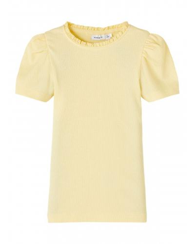 Ribstrikket Slimfit T-shirt Pink / Gul / Sunlight