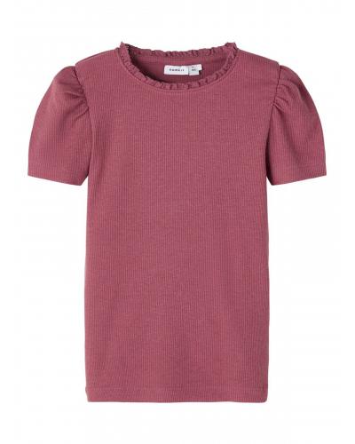 Ribstrikket Slimfit T-shirt Pink / Wild Ginger
