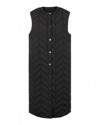Fawn Long Quilted Vest Black