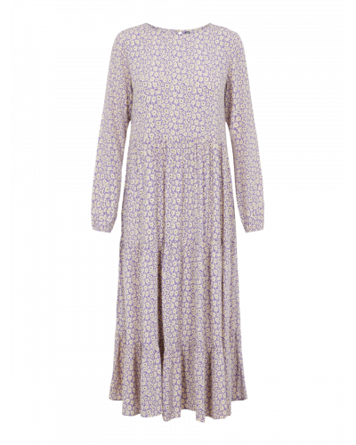 Louisa LS Midi Dress - Dahlia Purple Flowers