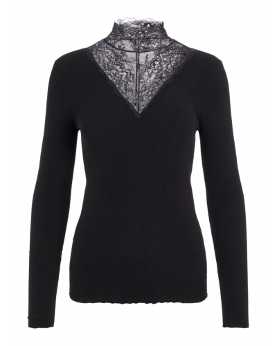 LS T-neck Bluse Black