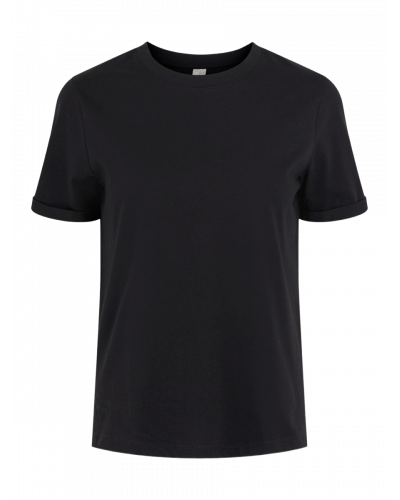 SS Fold Up Solid T-shirt Black