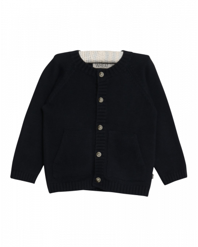Wheat Cardigan Strik Navy