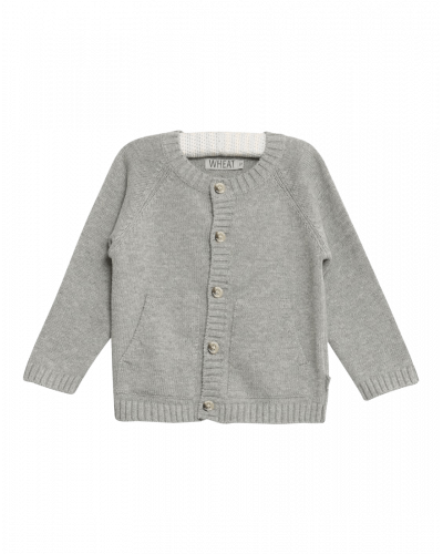 Wheat Knit Cardigan Classic Melange Grey
