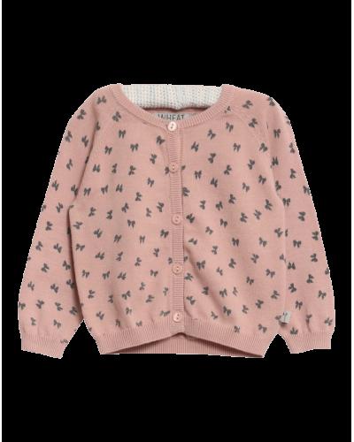 Knit Cardigan Misty Rose Sløjfeprint