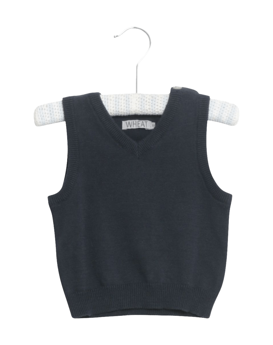 Wheat Knit Vest V-Neck Navy