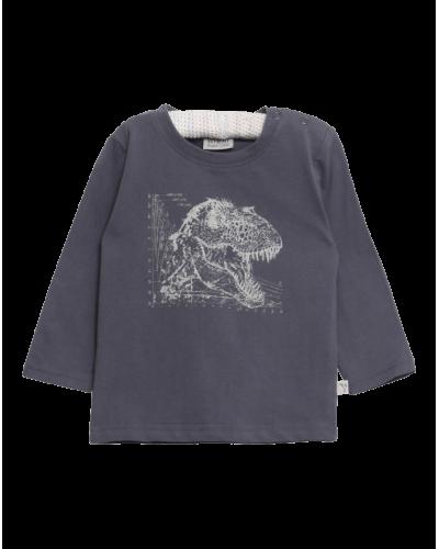 Wheat Langærmet T-shirt Dino Theory Gråblå