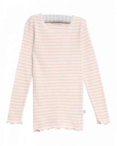 Wheat Rib Langærmet Bluse Powder Stripe
