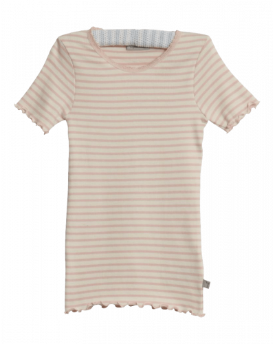 Wheat Rib T-shirt Lace Powder Stripe