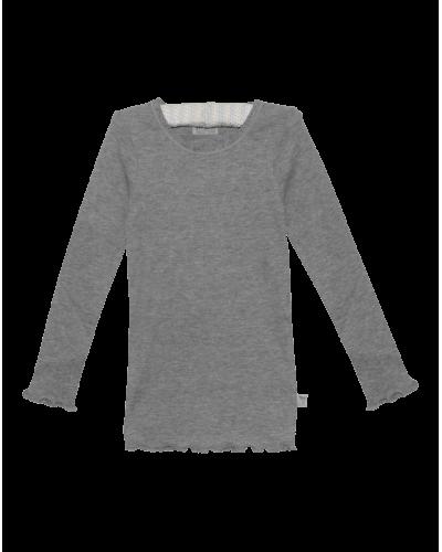 Wheat T-shirt Ribb Lace LS Melange Grey