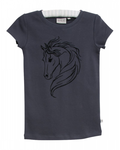 Wheat T-shirt Dot Horse Greyblue
